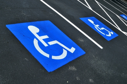 Handicap sign on pavement
